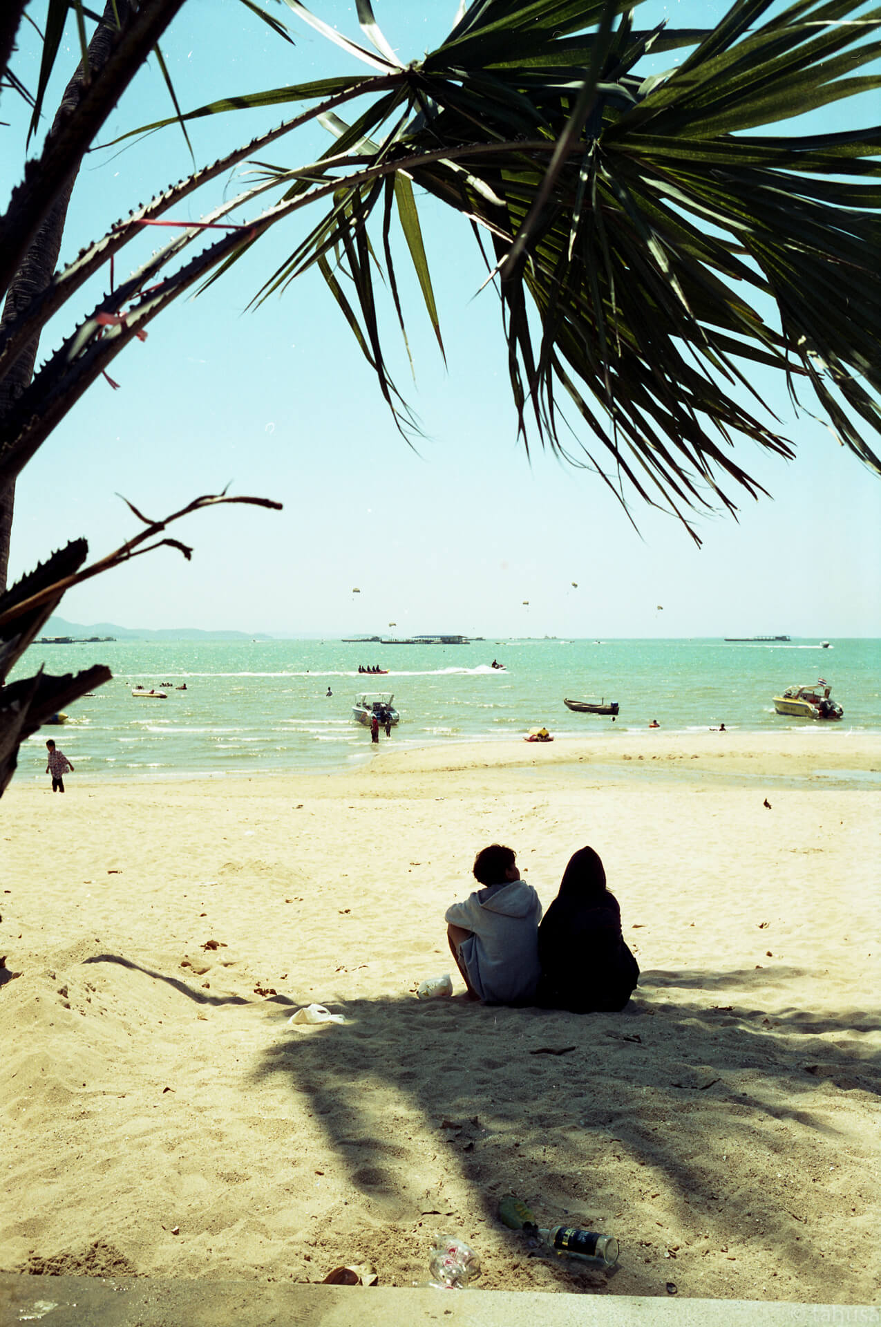 lover-sitting-under-the-shade-of-tree-on-beach-Pattaya-Thailand-using-film-leica-m2-summicron-35mm-f2-v1-8elements-hk-cinestill-Cine-movie-film-analog-c41-unique-color-film-review-street-streetsnap-streetphotography-iso50-50D
