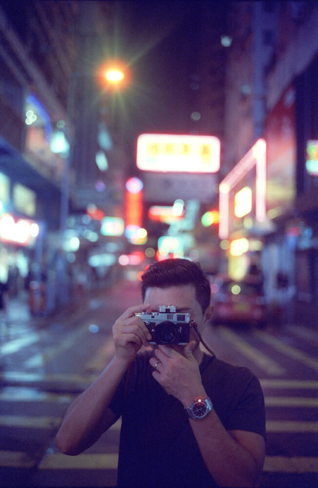 Mong-kok-Gary-Portrait-Hong-Kong-Night-Tide-Photo-walk-Night-Street-Snap-CineStill-800T-Tungsten-Leica-Summilux-11663-35mm-pushed-ISO2400-Motion-picture-Colour-Movie-Feel-After-rain