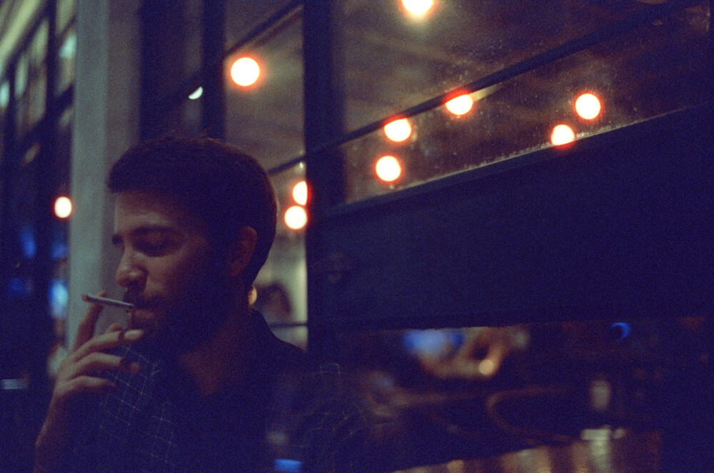Steve-happy paradise-Hong Kong-LKF-Lan Kwai Fong-Dinner Time-Meet up-CineStill 800T-Tungsten-Noctilux-50mm-Leica-Night-Neon light-HK-Portrait 3