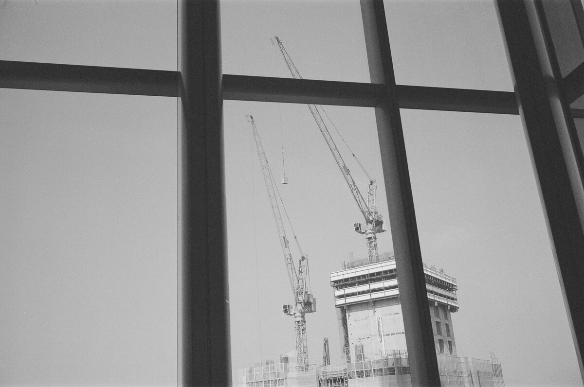 Composition-construction-grids-cranes-high-rise-building-constructions-Quarry-Bay-hong-kong-shutter-alliance-photowalk-Leica-Summicron-35mm-f2-IV-Ilford-Delta-400-black-and-white-bw-monotone