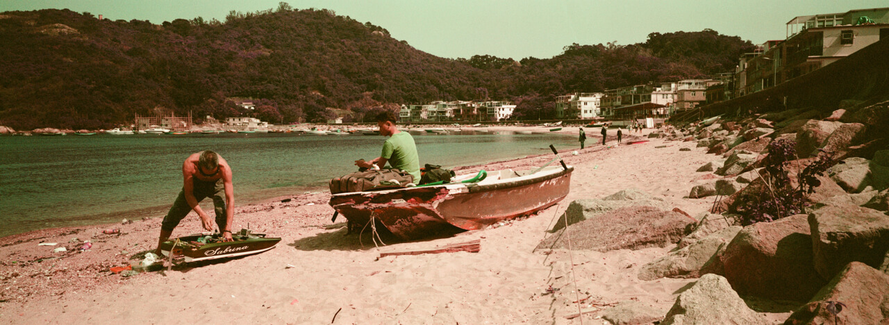 fixing-RC-boat-model-peng-chau-island-trip-weekend-getaway-hasselblad-xpan-xpanii-pano-panoramic-panorama-lomo-lomography-lomochrome-purple-xr-100-320-400-200-iso-color-negative-film-analog