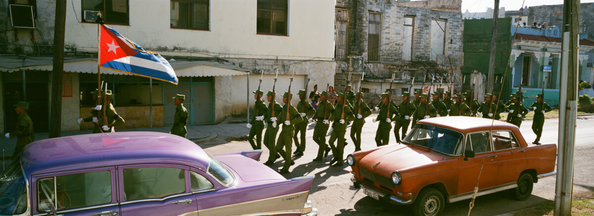 soldiers-marching-centro-havana-wandering-cuba-taken-with-hasselblad-xpan-II-xpanII-45mm-pano-panoramic-camera-agfa-vista-400