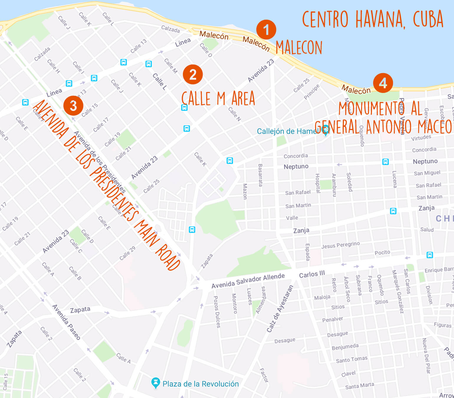 suggested-map-of-centro-havana-cuba-tahusa-Street Photography Guide Centro Havana-blog-travel-tips-guides-malecon-route-places-to-visit