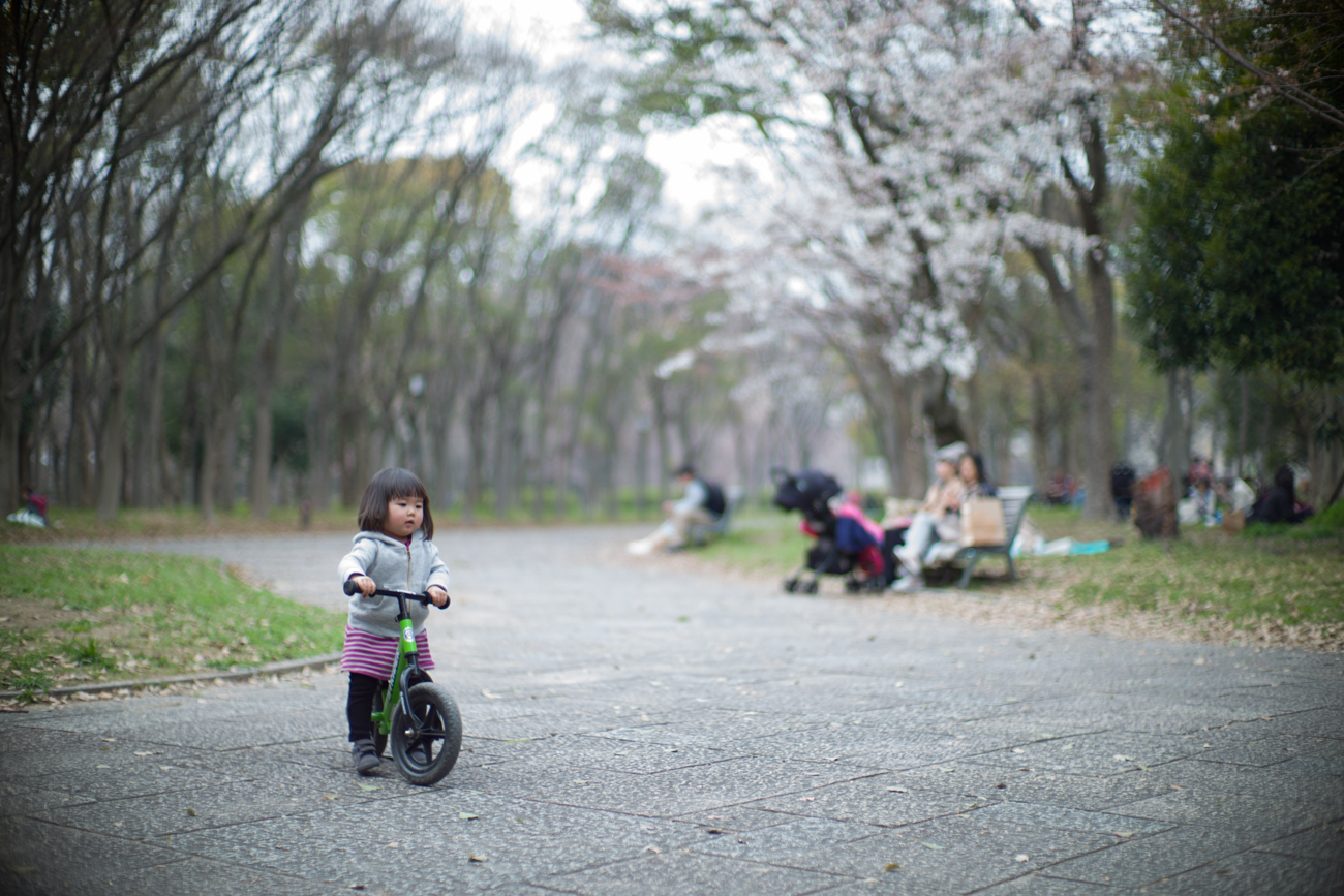 Noctilux-review-blog-lens-50mm-f1-f1.0-E58-v1-version1-Fast-lenses-wide-open-bokeh-portrait-leica-M9-M9P-digital-street-photography-sakura-osaka-japan-kid-riding-bike-stroller