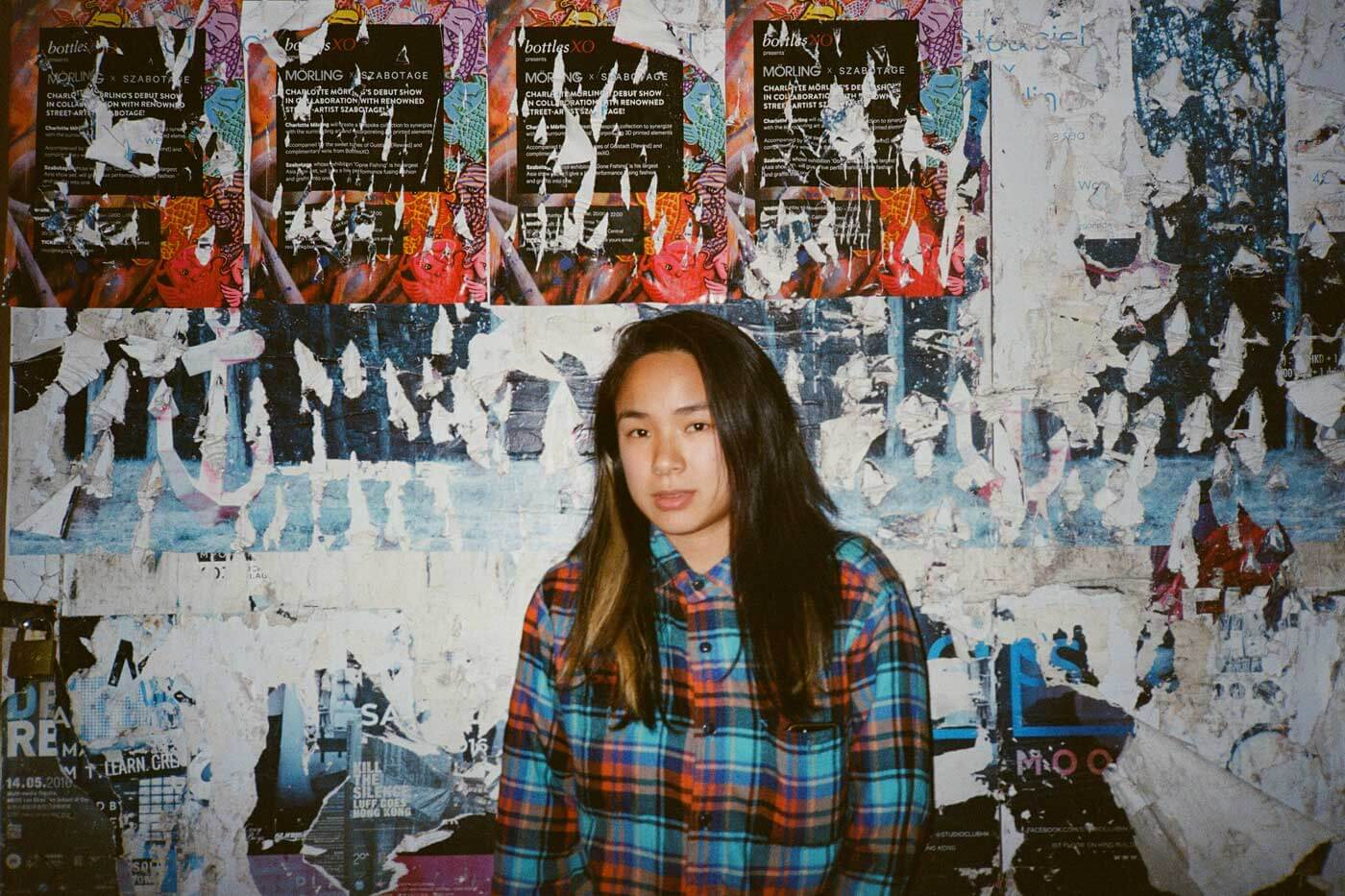kodak-ultramax-400-iso-film-review-yashica-t5-michelle-portrait-flash-with-poster-background-checked-shirt-look